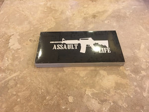 ASSAULT LIFE OFFICIAL BUMPER STICKER PACK OF 50 BUMPER STICKERS MADE IN USA WHOLESALE BY THE PACK OF 50!