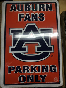 "12 AUBURN UNIVERSITY FANS PARKING 12X18"" METAL SIGNS"