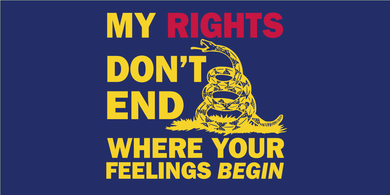 MY RIGHTS DON'T END WHERE YOUR FEELINGS BEGIN GADSDEN FLAG BUMPER STICKERS PACK OF 50 WHOLESALE