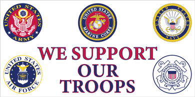 WE SUPPORT OUR TROOPS US MILITARY FLAG BUMPER STICKERS PACK OF 50 WHOLESALE