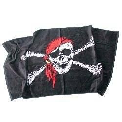Jolly Roger Red Hat pirate flag beach towel 30x60 inches 100% cotton