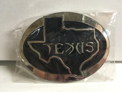 TEXAS BELT BUCKLE BLACK OVAL STATE MAP SILVER