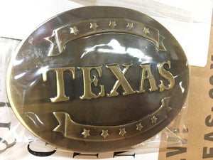 TEXAS HORSESHOE BRONZE BELT BUCKLE