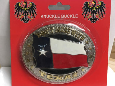 TEXAS BELT BUCKLE DON'T MESS WITH TEXAS FLAG OVAL GOLD & SILVER
