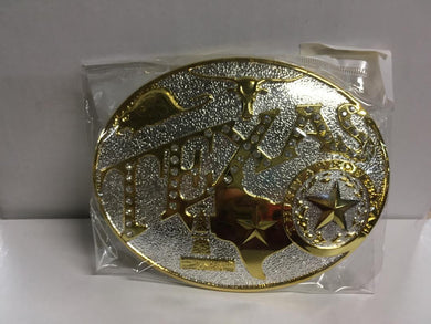 TEXAS BELT BUCKLE OVAL RHINESTONE GOLD & SILVER