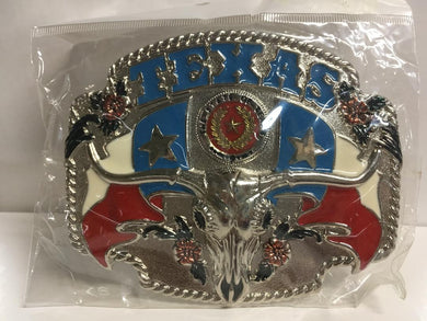 TEXAS FLAGS LONGHORN STATE SEAL BELT BUCKLE