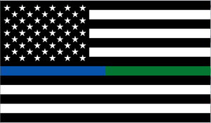 US Military and Police Memorial Thin Blue Green Line 3'X5' Flag Rough Tex® 68D Nylon