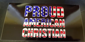 PROUD AMERICAN CHRISTIAN BLACK OFFICIAL BUMPER STICKER PACK OF 50 BUMPER STICKERS MADE IN USA WHOLESALE BY THE PACK OF 50!