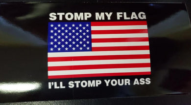 STOMP MY FLAG I WILL STOMP YOUR ... AMERICAN FLAG OFFICIAL BUMPER STICKER PACK OF 50 WHOLESALE FULL COLOR
