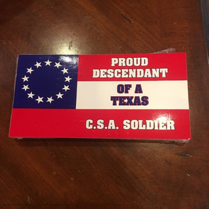 PROUD DESCENDANT OF A TX NAVY JACK CS SOLDIER TEXAS STARS & BARS OFFICIAL BUMPER STICKER PACK OF 50 BUMPER STICKERS MADE IN USA WHOLESALE BY THE PACK OF 50!