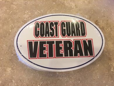 COAST GUARD VETERAN OVAL BUMPER STICKER PACK OF 50 BUMPER STICKERS MADE IN USA WHOLESALE BY THE PACK OF 50!