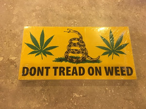 DON'T TREAD ON WEED GADSDEN LIBERTARIAN MARIJUANA BUMPER STICKER PACK OF 50 BUMPER STICKERS MADE IN USA WHOLESALE BY THE PACK OF 50!
