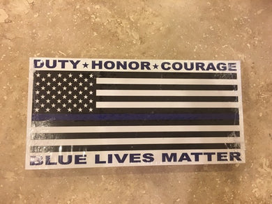 DUTY HONOR COURAGE BLUE LIVES MATTER USA POLICE MEMORIAL FLAG BUMPER STICKER PACK OF 50 BUMPER STICKERS MADE IN USA WHOLESALE BY THE PACK OF 50!