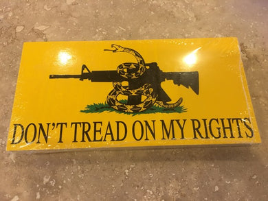 DON'T TREAD ON MY RIGHTS GADSDEN 2ND AMENDMENT ASSAULT RIFLE BUMPER STICKER PACK OF 50 BUMPER STICKERS MADE IN USA WHOLESALE BY THE PACK OF 50!