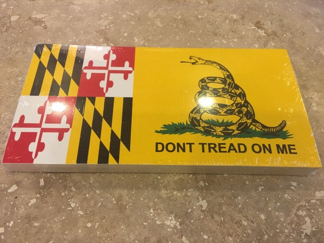 GADSDEN MARYLAND FLAG BUMPER STICKER PACK OF 50 BUMPER STICKERS MADE IN USA WHOLESALE BY THE PACK OF 50!