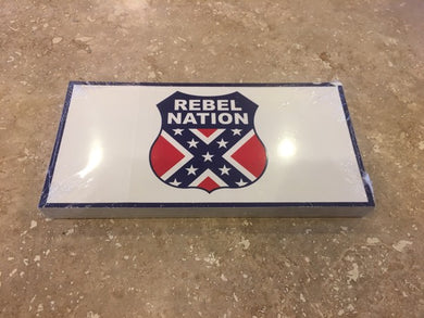 REBEL NATION CONFEDERATE FLAG SHIELD OFFICIAL BUMPER STICKER PACK OF 50 BUMPER STICKERS MADE IN USA WHOLESALE BY THE PACK OF 50!