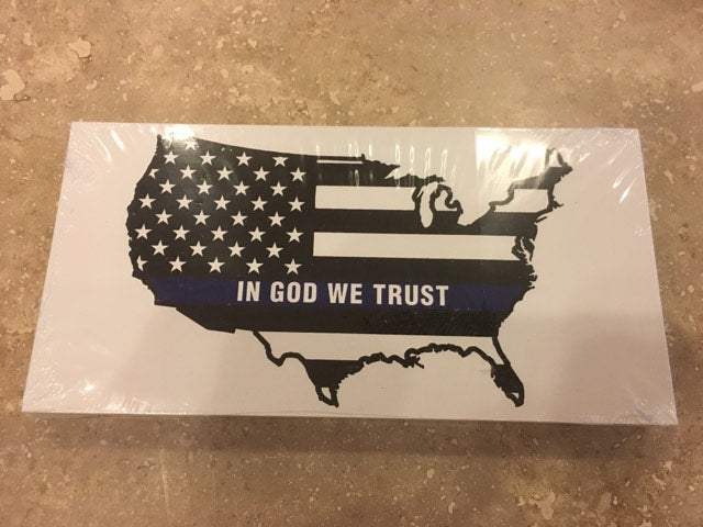 USA MAP POLICE MEMORIAL AMERICAN FLAG IN GOD WE TRUST OFFICIAL BUMPER STICKER PACK OF 50 BUMPER STICKERS MADE IN USA WHOLESALE BY THE PACK OF 50!