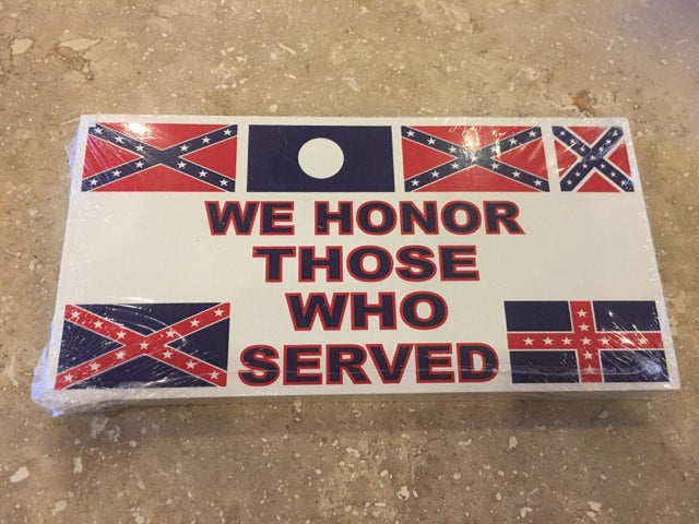 CONFEDERATE WE HONOR THOSE WHO SERVED CSA FLAGS OFFICIAL BUMPER STICKER PACK OF 50 BUMPER STICKERS MADE IN USA WHOLESALE BY THE PACK OF 50!