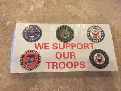 WE SUPPORT OUR TROOPS US MILITARY OFFICIAL BUMPER STICKER PACK OF 50 BUMPER STICKERS MADE IN USA WHOLESALE BY THE PACK OF 50!