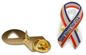 God Bless The USA Ribbon Cloisonne Hat & Lapel Pin