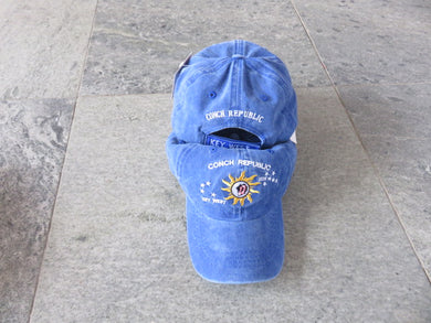 100% COTTON CAP CONCH REPUBLIC KEY WEST BLUE WASHED