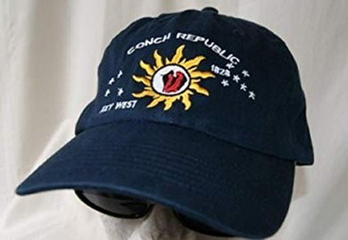 12 CONCH REPUBLIC KEY WEST CAP NAVY BLUE CAPS SOLD BY THE DOZEN