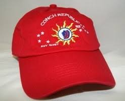 12 CONCH REPUBLIC KEY WEST CAP RED CAPS SOLD BY THE DOZEN