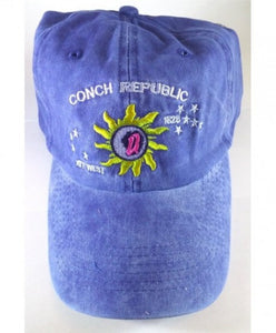 12 CONCH REPUBLIC KEY WEST CAPS BLUE FADED WASHED CAPS SOLD BY THE DOZEN
