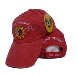 12 CONCH REPUBLIC KEY WEST CAP RED FADED WASHED CAPS SOLD BY THE DOZEN WHOLESALE