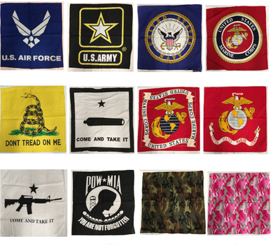 Military and Patriotic Collection Of Bandana Head Wrap In Assorted Designs 100% Cotton 22