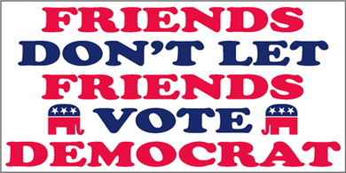 Friends Don't Let Friends Vote Democrat Pack of 50 bumper stickers