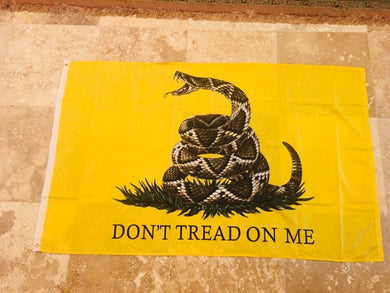 GADSDEN LIVE RATTLESNAKE FLAG A ROUGH TEX RUFFIN ORIGINAL FLAG 3'X5' 100D