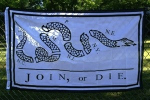 Join or Die flag 3'x5' polyester WHITE