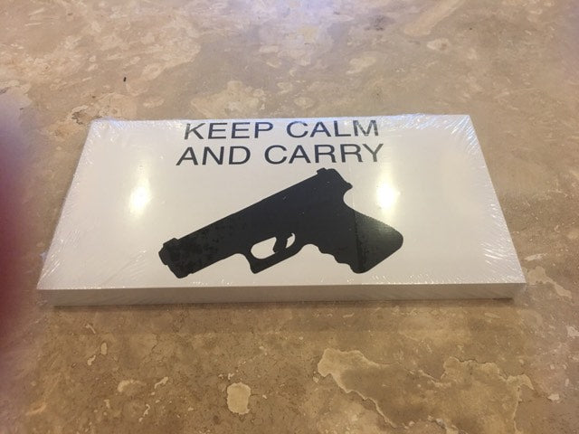 KEEP CALM AND CARRY 2ND AMENDMENT BUMPER STICKER PACK OF 50 BUMPER STICKERS MADE IN USA WHOLESALE BY THE PACK OF 50!