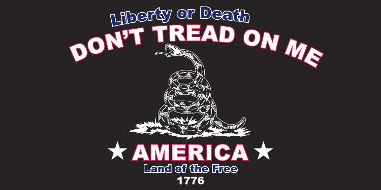 LIBERTY OR DEATH DON'T TREAD ON ME AMERICA LAND OF THE FREE 1776 GADSDEN RATTLESNAKE BLACK TACTICAL BUMPER STICKER PACK OF 50 BUMPER STICKERS MADE IN USA WHOLESALE BY THE PACK OF 50!