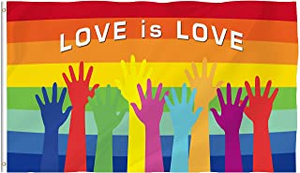 Love Is Love Rainbow Hands 3'X5' Flag Rough Tex® 100D