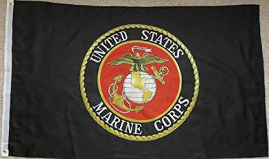 Marines Black Flag 3x5ft Nylon 210D Double-Sided