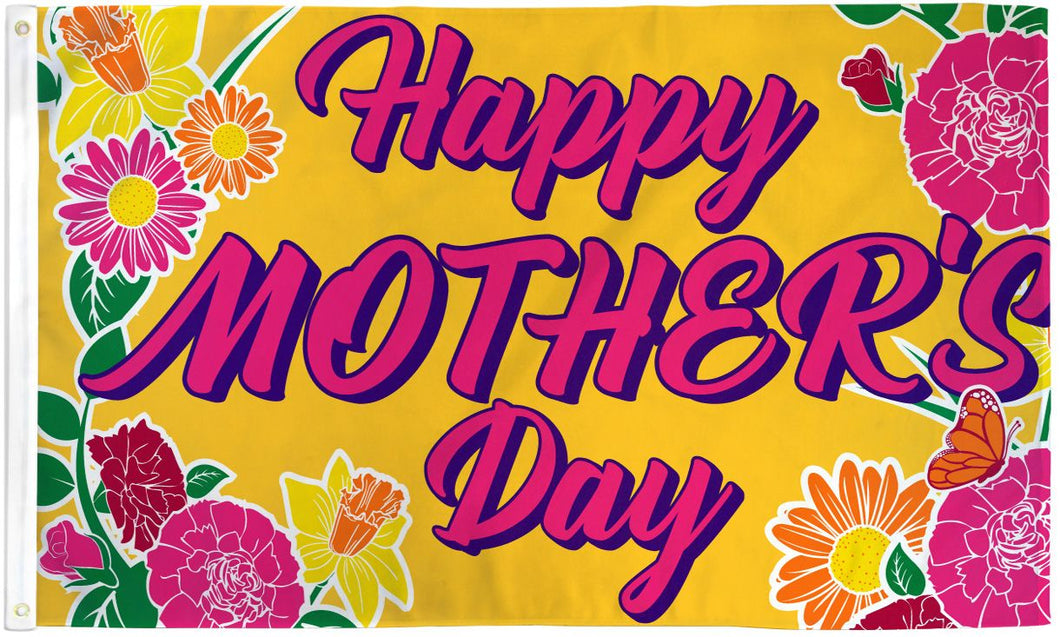 Happy Mother's Day Gold 3'X5' Flag Rough Tex® Polyester
