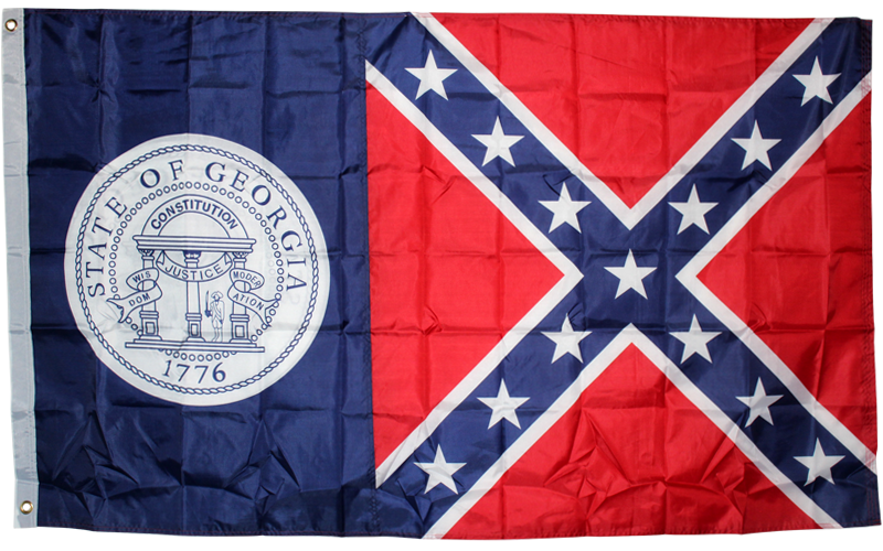 12 Old Georgia 3'x5' polyester Rebel GA flag FLAGS SOLD BY THE DOZEN