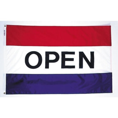 Open red white & blue 3'x5' poly flag