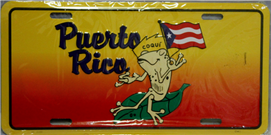 Puerto Rico Coqui Frog & Flag License Plate
