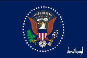 US President With Trump Signature 3'X5' Flag Rough Tex® 100D