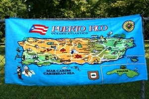 Puerto Rico Map #1 Beach Towel