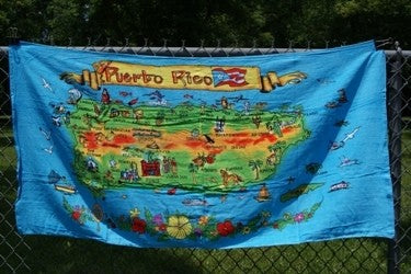 Puerto Rico Map #2 Beach Towel