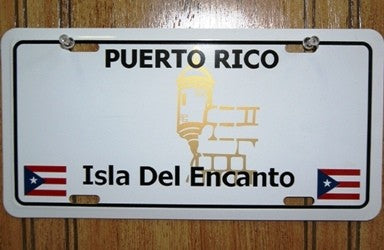 Puerto Rico Plain License Plate with 2 Flags