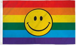 Rainbow Smiley 3'X5' Flag Rough Tex® 68D Nylon