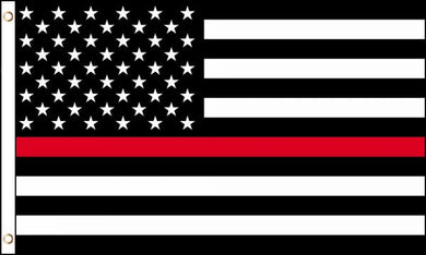 12 2'x3' RED LINE STRIPE USA BLACK (AMERICAN FIRE FIGHTER MEMORIAL FLAG) 100D FLAGS BY THE DOZEN WHOLESALE PER DESIGN!