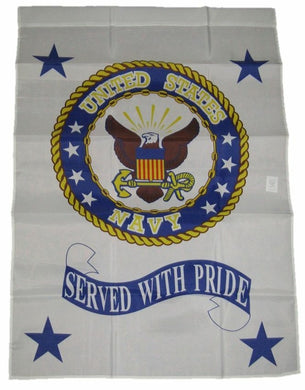 US Navy Served With Pride White 3'X5' Flag Rough Tex® Super Polyester
