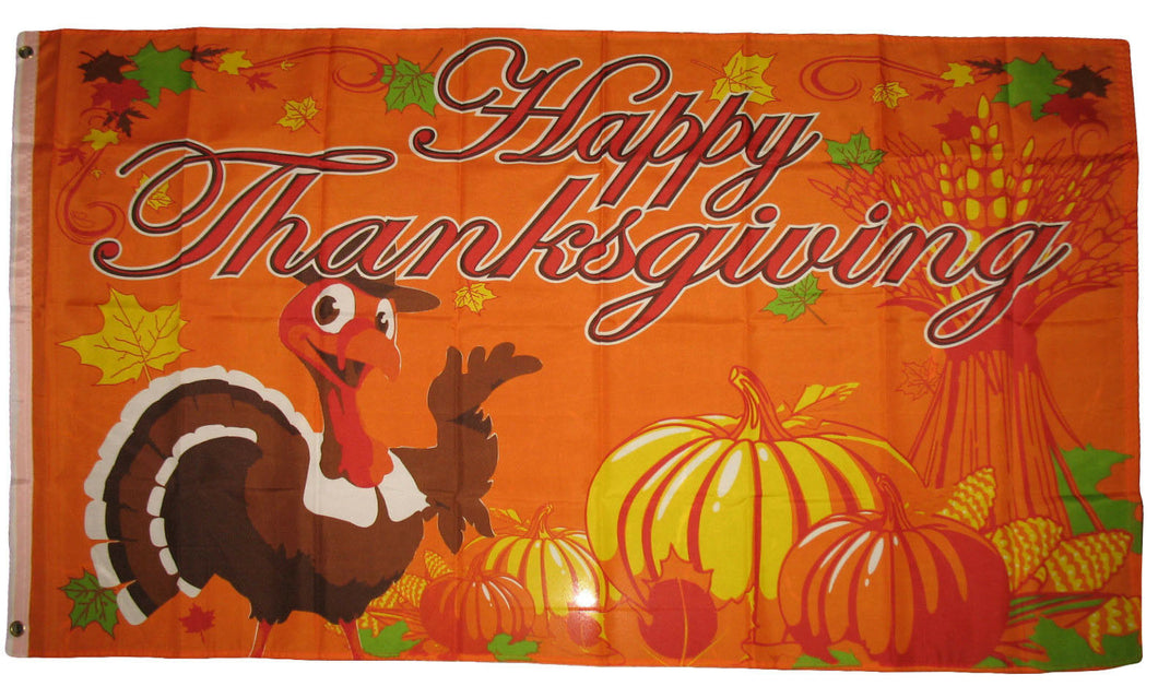 Happy Thanksgiving Turkey 3'X5' Flag Rough Tex® Polyester