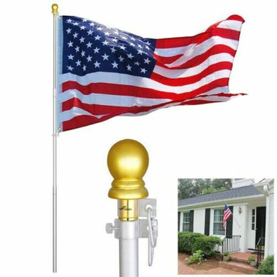 6 ft Aluminum Flagpole Kit Telescopic Flag Pole 3x5' U.S Flag Gold Ball Top
